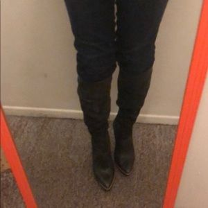 Grey high boots